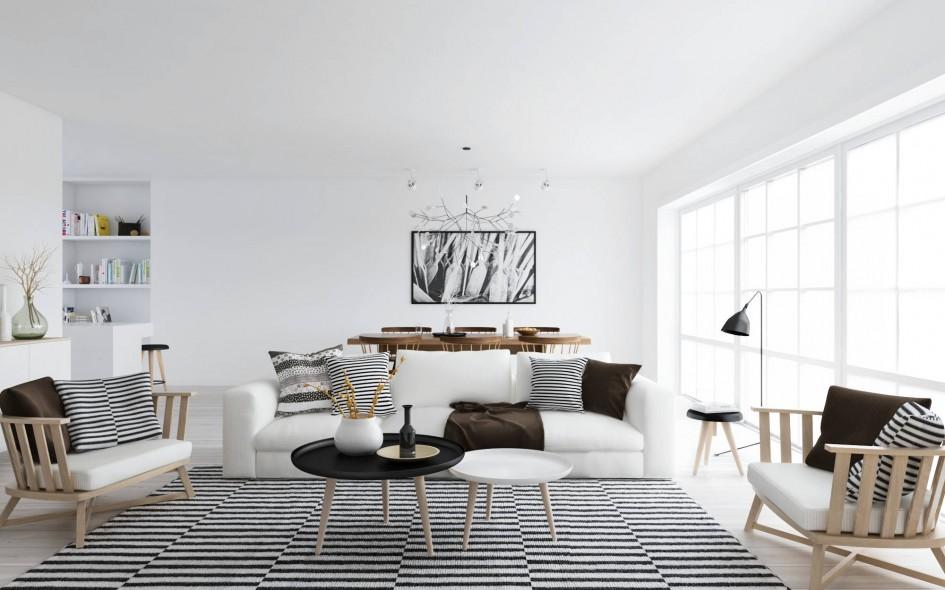 Charming Amazing Scandinavian Style Interior Design With Monochrome Style