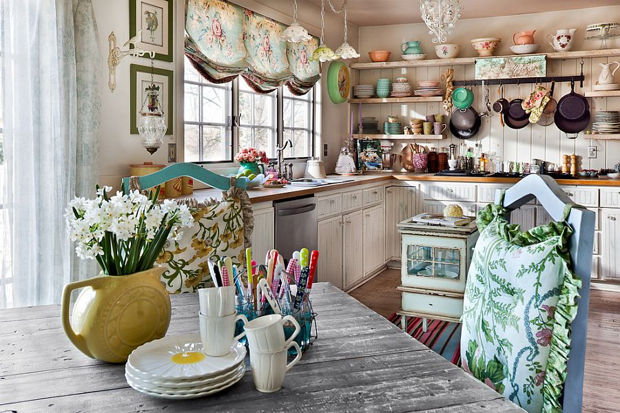 Flea Market Finds Combined With Beautiful Layout And Open Shelving Creates  A Gorgeous Kitchen [From. Shabby Chic ...
