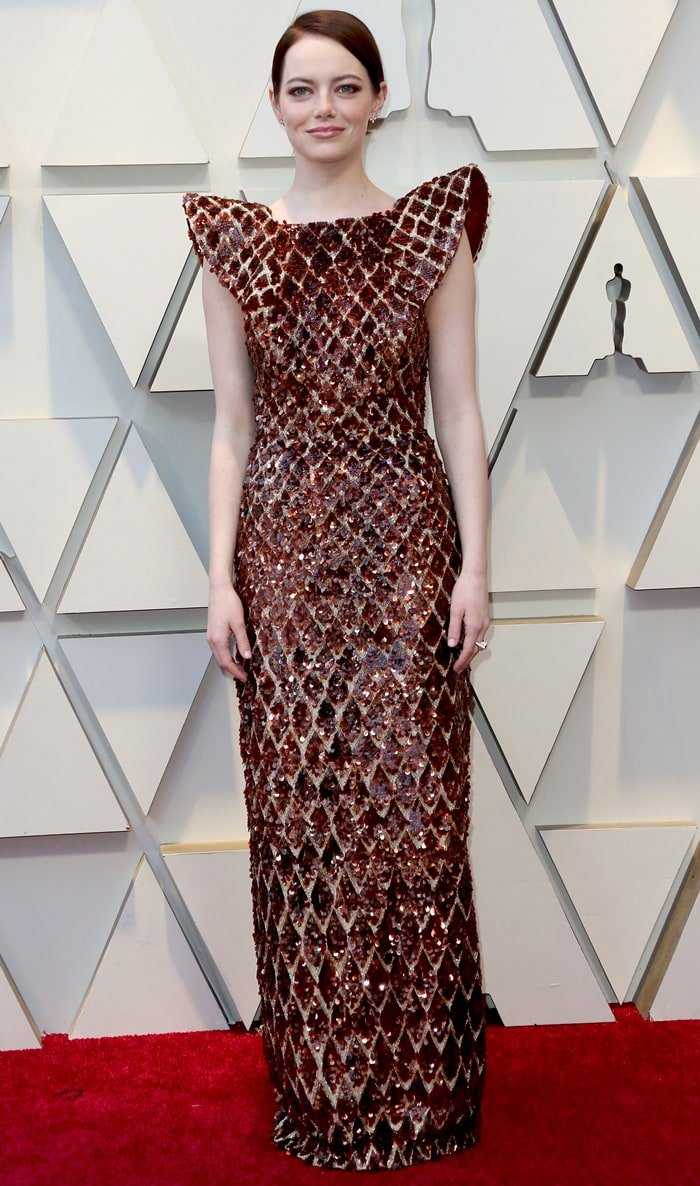 Color And Exquisite Trends At The 2019 Oscars   Color And Exquisite Trends At The 2019 Oscars Emma Stone Louis Vuitton beehive