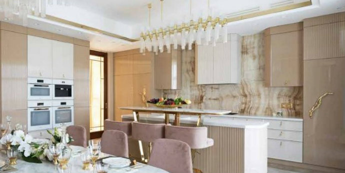 luxury design Luxury Design: A Kitchen Gets An Incredible Pink and Gold Makeover feat 2